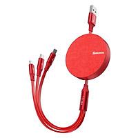 Cáp sạc dây rút  3 in 1- Baseus Fabric Flexible Cable tích hợp 3 đầu Type C / Micro USB/ Lightning 3.5A - Hàng Chính Hãng