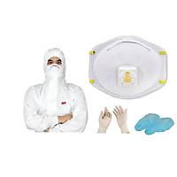 [Tặng kèm trùm giày và găng tay] Com bo quần áo bảo vệ chống hóa chất 3M 4545 và khẩu trang lọc bụi mịn 3M 8511 đạt chuẩn N95