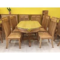 Bộ bàn ăn gỗi sồi 6 ghế bàn oval siêu tiết kiệm
