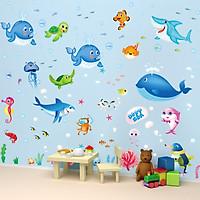 Combo 2 decal dá tường động vật dưới biển và đàn cá heo cho bé + Tặng stick bất kỳ