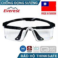 Kính bảo hộ Everest EV105 chống đọng sương, chống bụi, chống trầy xước (trắng trong) - EV105 Clear Anti-fog