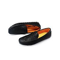 Giày Lười Nam Da Bò Thật Nguyên Tấm Dập Vân Cá Sấu Pettino PL09 Màu Đen
