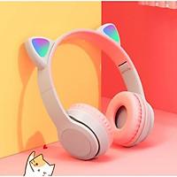 Tai nghe Bluetooth P47M gắn tai mèo dễ thương Phát sáng đèn đầy màu sắc Tai nghe LED có thẻ có thể gập lại