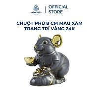 Tượng chuột sứ Minh Long 8 cm - màu xám - trang trí vàng 24K (tượng chuột Phú)