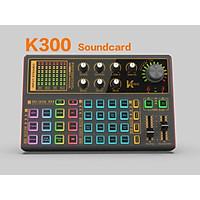Soundcard K300 – Chuyên thu âm, livestream, karaoke online – Livestream được 3 điện thoại cùng lúc – Đầy đủ chức năng auto tune, đổi giọng, hiệu ứng khán giả - Điều chỉnh bass treble echo, giảm tiếng ồn – Kết nối bluetooth – Hàng chính hãng
