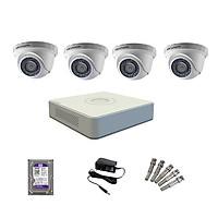 Trọn bộ 4 Camera HIKVISION bán cầu hồng ngoại 2MP - Hàng chính hãng Phân Phối