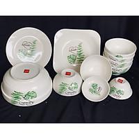 Bộ đồ ăn gốm sứ cao cấp 11 món :bát, đĩa, tô, chén  gốm sứ  - lá cây xanh