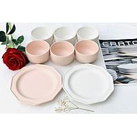 Bộ bát đĩa gốm sứ cao cấp 8P ( 6 bát, 2 đĩa) - Rire series - Bella - Erato - Hàng nhập khẩu