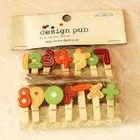 SET 10 Cái Kẹp Gỗ Sơn Design Pub hình Chữ số (Tặng 1,5m dây cói)