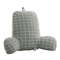 Bed Rest Backrest Reading Pillow Soft Velvet Chair Back Support Lounger Blue