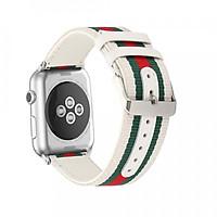 Dây da phối vải cho Apple Watch 42mm / 44mm hiệu Kakapi vân GCthời trang sang trọng - Hàng chính hãng