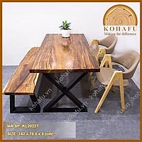 Mặt bàn ăn gia đình, mặt gỗ me tây nguyên tấm dài 142 x rộng 75.5 x dày 5 (cm)- KL20227