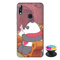 Ốp lưng cho điện thoại Asus Zenfone Max Pro M2 hình Gấu Bong Uống Trà tặng kèm giá đỡ điện thoại iCase xinh xắn - Hàng chính hãng
