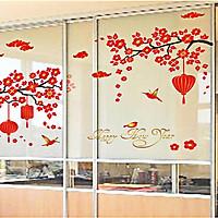 Decal dán tường hoa đào đỏ sk9140