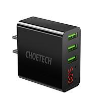 Cóc củ sạc nhanh3 cổng USB hiệu CHOETECH C0026UScho điện thoại / máy tính bảng Samsung iPhone Huawei Oppo Xiaomi (sạc nhanh 2.4A / Port, 3Port USB, Max 3A, trang bịLED hiển thị) - hàng chính hãng