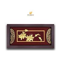 Tranh cá chép hoa mẫu đơn (42x81cm) MT Gold Art- Hàng chính hãng, trang trí nhà cửa, phòng làm việc, quà tặng sếp, đối tác, khách hàng, tân gia, khai trương