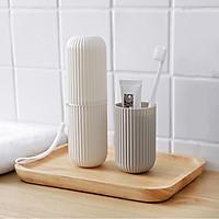 Bộ 2 ống đựng bàn chải kem đánh răng du lịch HC-05 Nhật Bản hộp đựng đồ đa chức năng tiện dụng