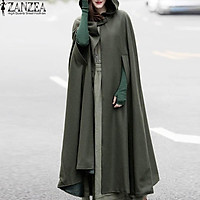 ZANZEA Cosplay Novel Shawl Women Hooded Cloak Button Pluvial Cocktail Long Coat