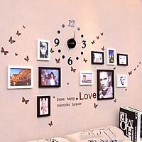 Bộ 10 Khung ảnh Treo Tường Phòng Ngủ kèm đồng hồ, decal KA1001. Miễn phí phụ kiện