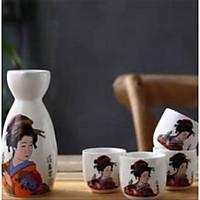 Bộ bình ly gốm sứ mẫu geisha ( 1 bình 4 ly)