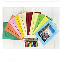 Bộ 10 khung hình giấy phong cách hàn quốc nhiều màu kèm kẹp gỗ
