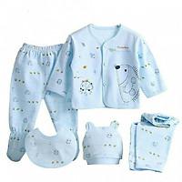 Bộ sơ sinh 5 chi tiết cotton cho bé màu xanh ( Hoạ tiết giao ngẫu nhiên)