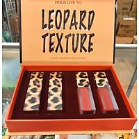 Bộ son HOLD LIVE Leopard Luxury, 4 cây: 2 son thỏi, 2 son kem