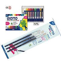 Combo 1 hộp màu 12 TUBES GIOTTO ACRYLIC COLORS 12ML và 1 Vỉ 3 chổi vẽ GIOTTO Art 577 số 6,8,10 - Italia