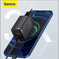 Cóc sạc  Baseus Compact Quick  nhỏ gọn 20W (USB + Type C Dual Port, 20W PD/QC 3.0 Multi Quick Charge Support) cho iPhone 12/iP11/XS Max, Android .. - Hàng chính hãng