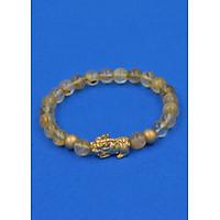 Vòng đeo tay Thạch Anh Tóc vàng 6 ly cẩn Tỳ Hưu inox vàng VTATVTHHBV6 - hợp mệnh Kim, mệnh Thổ