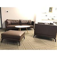 Sofa văn phòng da Juno Sofa  và bàn trà gỗ trắng