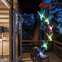 ĐÈN LED Năng Lượng Mặt Trời Đèn Chuông Gió Chim ruồi tự động sáng đổi màu