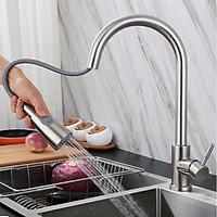 Vòi rửa chén bát dây rút cao cấp inox 304 KAMA VNL23L - Vòi nóng lạnh inox 304 dùng cho mọi bồn rửa chén bát nhà bếp, dây rút tiện dụng, 2 chế độ nước - Hàng chính hãng