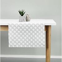 Khăn trải bàn JYSK Vasskryp cotton hoa văn bạc 40x150cm