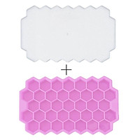 Honeycomb Ice Cube Trays with Removable Lids Silica Gel Ice Cube Mold BPA Free Multi-Color Soft Glue Is Easy To Clean