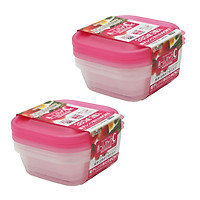 Combo hộp nhựa 380ml màu hồng nội địa Nhật Bản