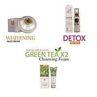 Bộ sản phẩm làm sạch, thải độc da Acosmetics (Sữa rửa mặt trà xanh X2, Detox bọt biển, Kem face Pháp)