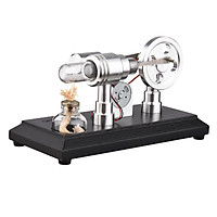 Hot Air Stirling Engine Motor Model Assembled Steam Flying Saucer Science Experiment with Wooden Base LED Light DIY
