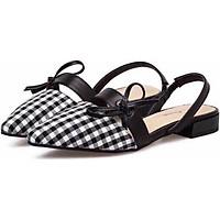 Sandal Nữ Kẻ Mũi Nhọn Thắt Nơ Quai Sau Đế 2p