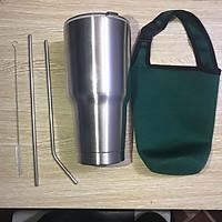 Ly Giữ Nhiệt YT Nắp Chống Tràn Cao Cấp + Tặng Bộ Ống Hút Inox Tái Sử Dụng Và Túi Đựng (Màu Sắc Ngẫu Nhiên)