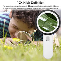 12 LED 10X Lighted Handheld Magnifying Glass Magnifier Reading Glass Lens Jewelry Loupe