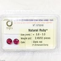 Cặp đá ruby tròn làm bông tai size 6ly 2.49ct 75318