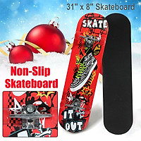 4 Wheel Skateboard Strong Impact Resistance Excellent Control Smooth Riding Speed Children's Scooter Four Wheel Skateboard Beginners Novices Double Rocker 80x20cm