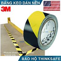 Băng keo cảnh báo dán nền 3M 766 màu vàng sọc đen chuyên dùng dán nền cảnh báo cho nhà xưởng tủ điện (50mmX32.9)