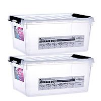 Locks and buckles plastic storage box storage box storage box two-piece car storage box clothing box sundries hundred-nine box INP111NS2 transparent color 15L*2