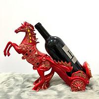 Tượng ngựa đỏ kéo rượu trang trí DDB130