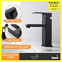 Vòi lavabo vuông nóng lạnh mạ đen inox 304 KAMA VC11 - thân cao 20 cm, cân nặng 870gr, tặng kèm bộ dây cấp nước nóng lạnh 60 cm, vòi chậu rửa mặt vuông nóng lạnh mạ đen sang trọng phù hợp với mọi lavabo