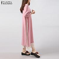 6 Colors ZANZEA Women Vintage Cotton Linen Dress Casual Loose 3/4 Sleeve Long Maxi Dresses Plus Size S-5XL Vestidos (Pink)