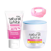 Combo Kem dưỡng trắng hồng Olay Natural White Pinkish và Sữa rửa mặt - Tặng Băng đô tai mèo xinh xắn
