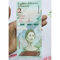 Tờ tiền xưa 2 Venezuela hình người phụ nữ -  tặng phơi nylon bảo quản tiền